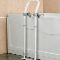 strong white metal bath rail
