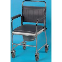 padded wheeled commode chair