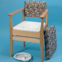 wooden frame commode chair with stylish upholstery