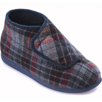 Cosyfeet Robbie navy russet check extra wide fitting slipper boot