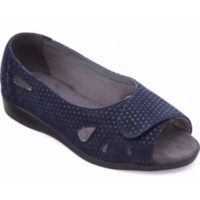 Cosyfeet Keira navy spot nubuck extra wide fitting shoe sandal