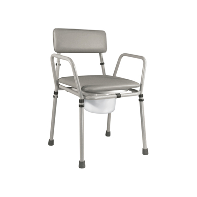 grey padded commode chair with height adjustable legs