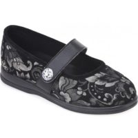cosyfeet black floral koryl shoe with strap