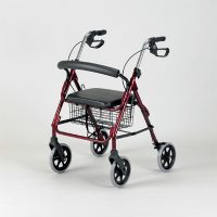Lightweight Rollator with Brakes, Ruby