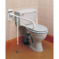 strong fold away toilet rail with adjustable height leg