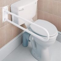 strong toilet rail that drops down and folds away