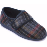 Cosyfeet Reggie navy russet check extra wide fitting slipper