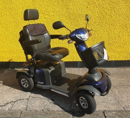 reconditioned Van Os Galaxy Plus navy blue mobility scooter front view