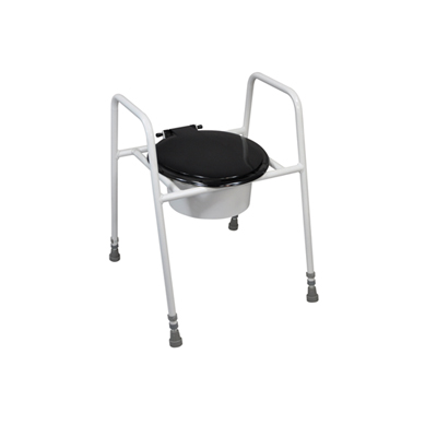 toilet seat with lid on adjustable height frame
