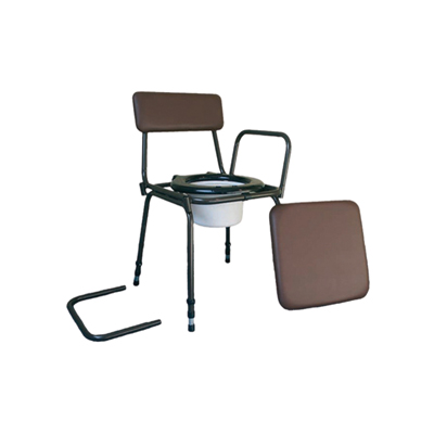 brown padded commode chair with detachable arms and adjustable legs
