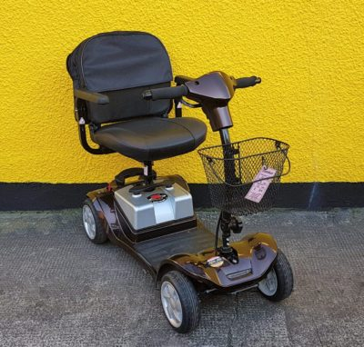 reconditioned Kymco Mini Comfort black class 2 boot mobility scooter front view