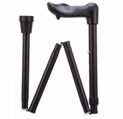 black walking stick with arthritic grip handle