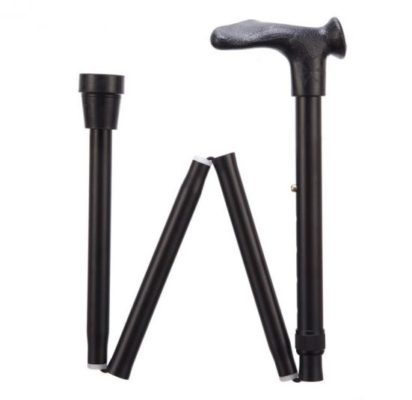 black walking stick with ergonomic handle